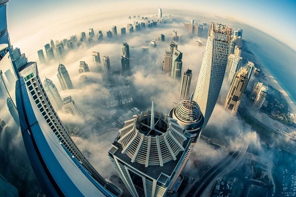 Dubai Skyline Above The Clouds